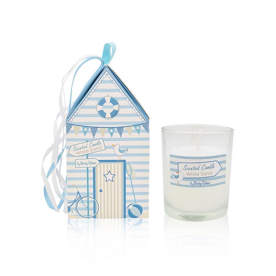Κερί σπιτάκι με θέμα παραλία σιέλ