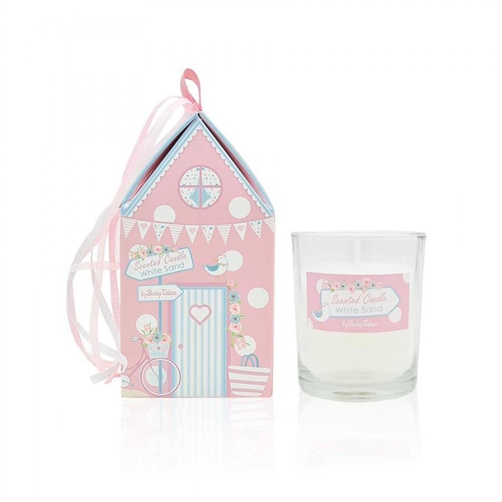 Κερί σπιτάκι με θέμα παραλία ροζ