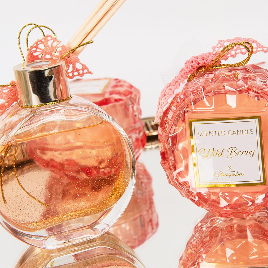Αρωματικό κερί στρογγυλό ροζ γυάλινο wild berry