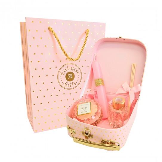 Σετ δώρου πασχαλινό με βαλιτσάκι ροζ χρυσό