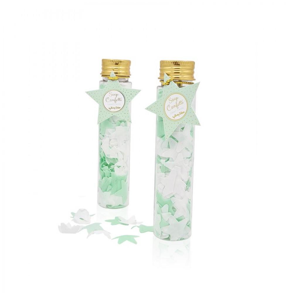 Σαπούνι confetti αστεράκια βεραμάν & λευκά