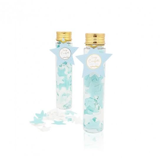 Σαπούνι confetti αστεράκια σιελ λευκά