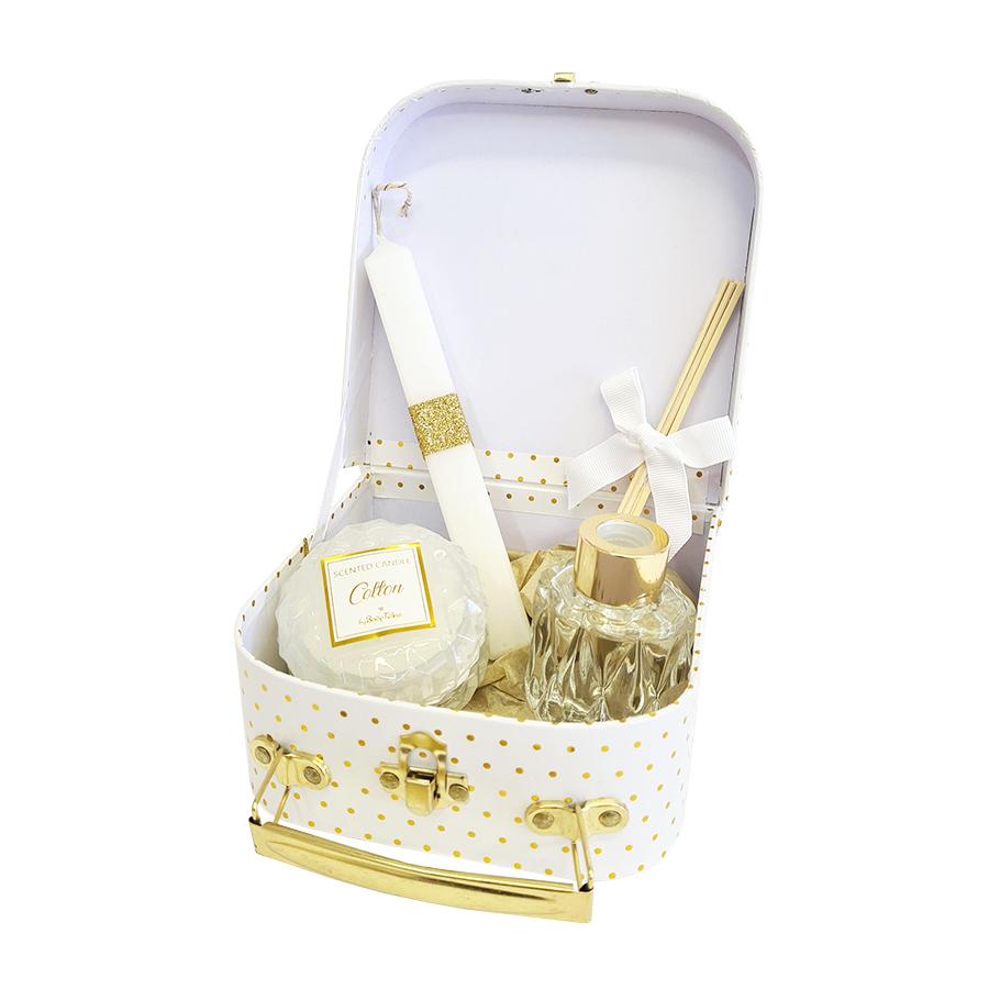 Σετ δώρου πασχαλινό με βαλιτσάκι λευκό χρυσό