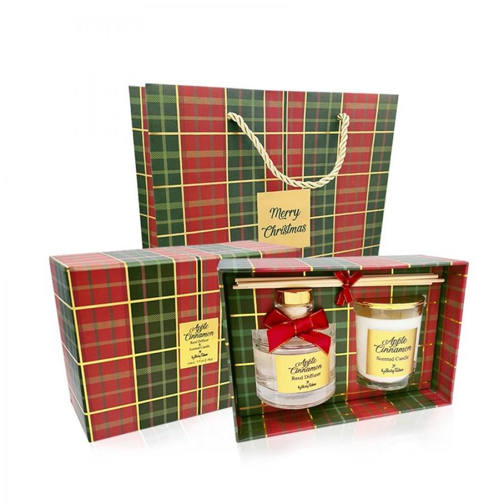 Αρωματικό σετ δώρου χριστουγεννιάτικο καρό apple cinnamon