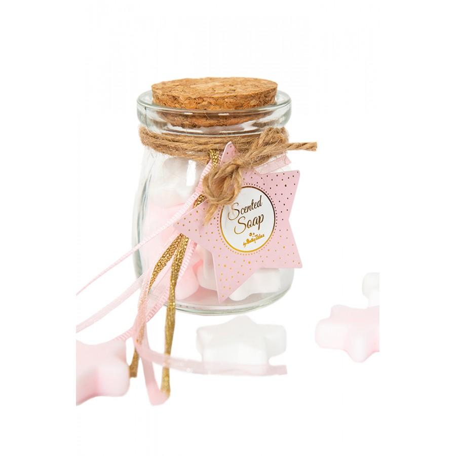 Βαζάκι Με Αστεράκια Σαπουνάκια Άσπρα&Ροζ