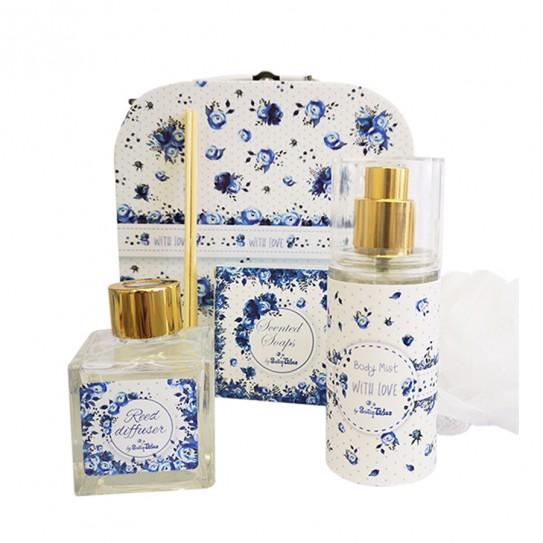 Σετ Δώρου Μπλε Λουλούδια