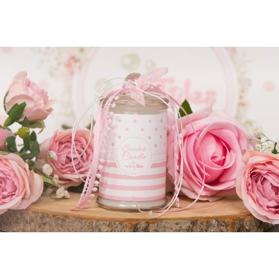 Κερί Ροζ Ριγέ Πουά